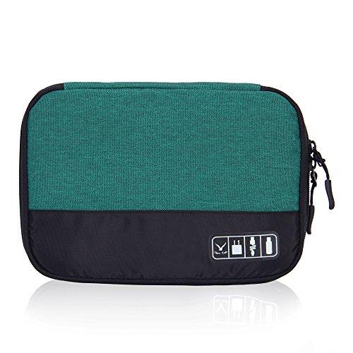 Veevan Astuccio Portatile con Avvolgicavo Borse da Viaggio Organizer Accessori Elettronici Chiavetta USB Caricabatterie (Verde militare)
