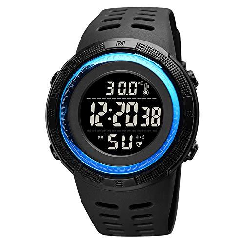 Flytise Reloj Deportivo Digital de Temperatura para Adolescentes Hora Fecha Semana Pantalla Reloj Despertador Retroiluminación 5ATM Impermeable Estudiantes Relojes de Moda Pulsera para niños para la
