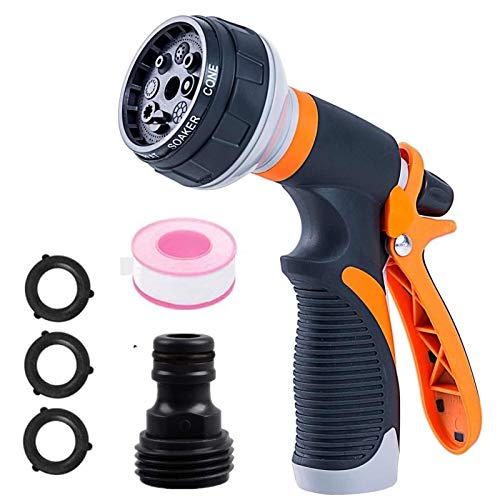 XuHuYu Hose Nozzle Sprayer Features 8 Spray Patterns,Slip and Shock Resistant for Easy Water Control -Garden Hose Nozzles for Watering Plants,Cleaning Car Wash and Showering