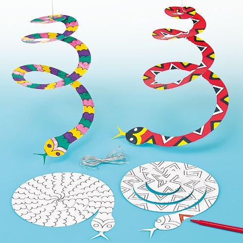 """Baker Ross Spiralmobiles """"Schlange"""" mit goldener Schnur zum Aufhängen in 2 Motiven für Kinder zum Gestalten -  (10 Stück)"""