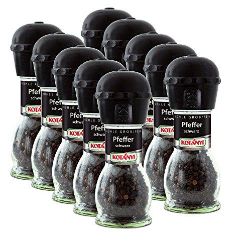 10er SET Kotanyi Pfeffer schwarz 36 g in Mühle grob + fein / Pfeffermühle / Gewürzmühle