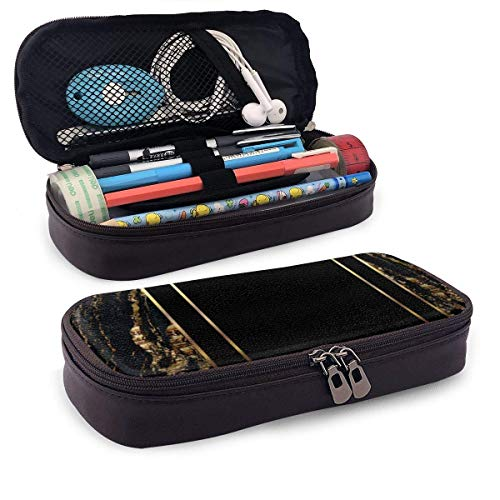 Gold and Black Marble Design Portable Leather Pencil Case Pencil Bag Pouch with Zipper