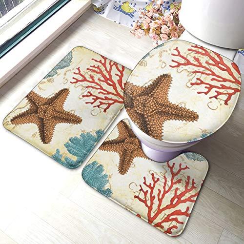 Meiya-Design Badezimmerteppich-Set, 3-teilig, weich, karibisch, Seestern und Korallen, perfekte Kombination und Komfort