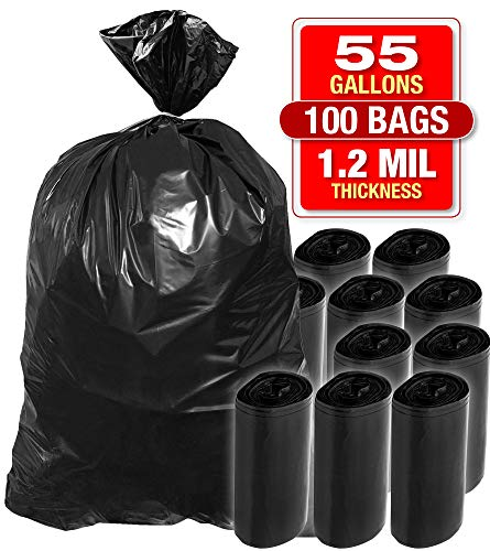 Heavy Duty Black Trash Bags - 55 Gallon 50 PK Black Bags for Garbage, Storage - 1.2 Mil Thick, 35'Wx55'H Industrial Grade Trash Bags for Construction, Yard Work, Commercial Use - by Tougher Goods