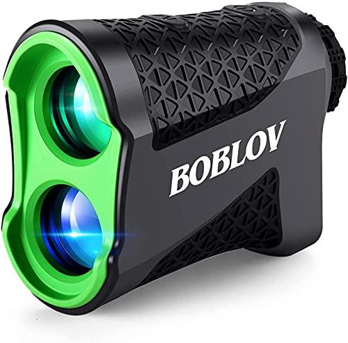 BOBLOV ゴルフ レーザー距離計 測定器 充電式 高低差測定 650ヤード対応 6倍率広視野角 4つの測定モード ピンロック スロープ補正 精度±1Y IPX5防水 超軽量 収納ケース付き 初心者向け 緑