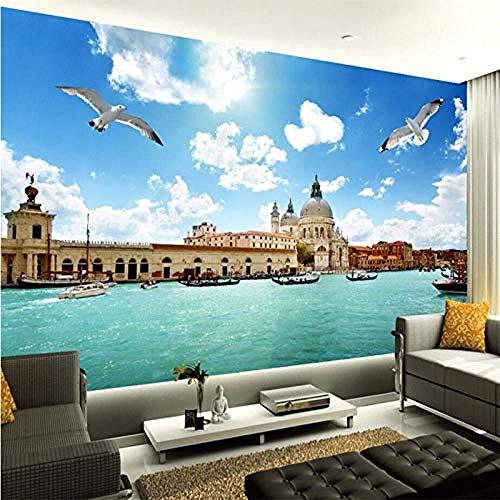 murales Venezia Acqua Città Stereo Paesaggio Carta da parati Divano TV Sfondo Decorazioni per la casa a parete Carta Da Parati panno camera da letto moderna 3D Fotomurali Soggiorno-200cm×140cm