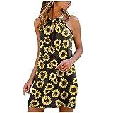 Vestido Hombro Descubierto Vestidos Verano Mujer Vestido Boho Midi Ropa Casual Playa Camisón(Amarillo,XL)