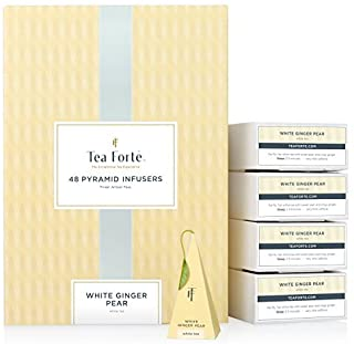 Tea Forte White Ginger Pear Event Box Bulk Pack, 48 Handcrafted White Tea Pyramid Infuser Bags
