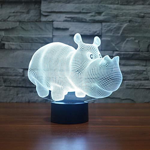 Rhino 3D Nachtlicht Rutsche Tischlampe Nachttischlampe, 7 Farbwechsel Touch-Schalter Desktop-Dekoration Lampe Geburtstag Weihnachtsgeschenk, Acryl-Tablet und ABS-Basis und USB-Kabel@Nashorn (Plug-in)