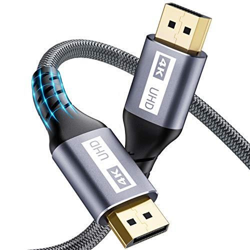Displayport Kabel-2M, Yurnero 4K DP Kabel,Unterstützung(4K@60Hz,2K@144Hz/165Hz,3D),Kompatibel mit FreeSync und G-Sync,DP Zu DP Kabel für Gaming Monitor/PC/TV/Beamer/Monitor/Grafikkarten