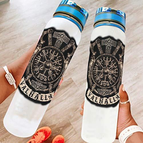 DAMKELLY Store Botella deportiva Viking Vegvisir Shield, de alta calidad, con correa Crayy para fitness, color blanco, 1000 ml