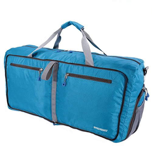enknight 55L 75L Travel Waterproof Foldable Duffel Bag Luggage Bag Sports Gym Bag Blue