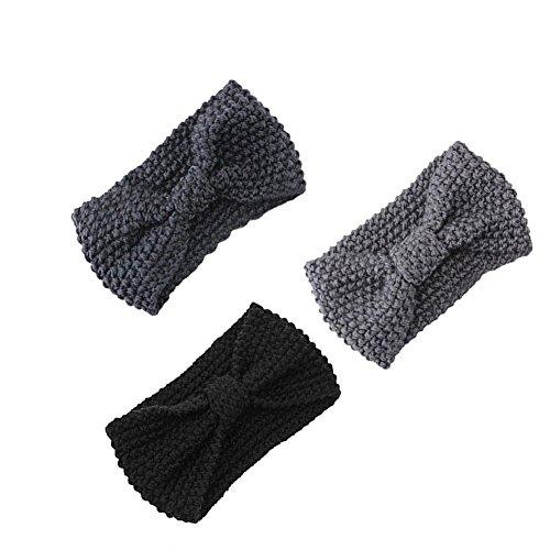 Damen Gestrickt Stirnband Häkelarbeit Schleife Design Winter Kopfband Haarband Schwarz-Hellgrau-Dunkelgrau