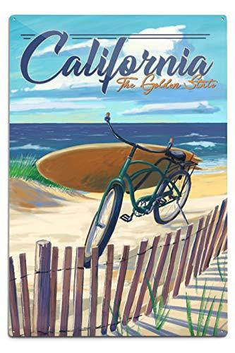 Lantern Press California – The Golden State – Beach Cruiser sur la Plage 12 x 18 Metal Sign Multicolore