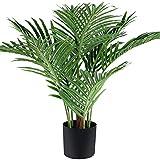 Fopamtri Planta Artificial Palma de Areca Hawaiian Tropic Palma Plantas Artificial Altura 60cm para Hogar para Hogar Baño Oficina Jardín Boda Planta Falsa Decoración(1PACK)