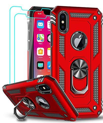 LeYi Compatible for iPhone X Case, iPhone Xs Case with Tempered Glass Screen Protector [2Pack] for Women Men, LeYi [Military-Grade] Phone Case with Ring Kickstand for Apple iPhone X/Xs/ 10, Red