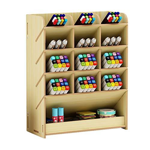 Caja de almacenamiento para bolígrafos, de madera, multiusos, organizador de escritorio para el hogar, la oficina y la escuela, color Arce blanco.