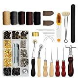 28PCS Leather Working Tools Hand Stitching Tools Set Sewing Saddle Groover Punch Hole Thread Awl Snap Fasteners Kit