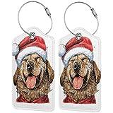 NOLYXICI Etiquetas para Equipaje,Terrier Divertido Que sonríe en el Vestido de Navidad Sombrero de Papá Noel Tema de celebración,4 Piezas