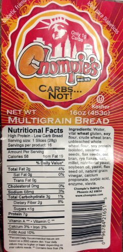 Chompies Low Carb Multigrain Bread 2 Loaves