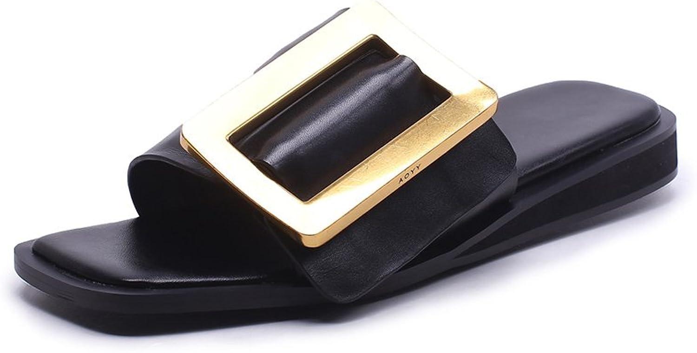 XUE Damenschuhe PU Sommer Komfort Sandalen Hausschuhe & Flip-Flops Leichte atmungsaktive Wanderschuhe aushhlen Mode Office Flat Loafers (Farbe   EIN, Gre   34)