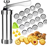 Cookie Press,Spritz Cookie Press Gun Kit, DIY Biscuit maker and Churro Maker with 20 Decorative Stencil Discs and 4 Icing Tips for Funny Kitchen-By ZZmx