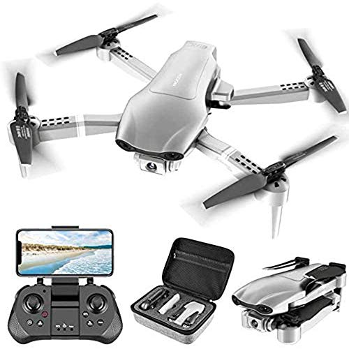WEIFENG 4FHD FPV Kamera Live Video für Erwachsene mit DRC F3 GPS 4K Drone, beweglichem Selfie Quadcopter für Anfänger mit Auto Return Start, Follow Me, Auto Hover enthält Tragetasche, Silber,