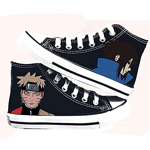 QOOO Zapatillas de Deporte de Anime de Dibujos Animados con Estampado de Anime Zapatos de Lona de Naruto Zapatos Zapatillas de Deporte de Encaje Luminoso,Black 2,35 EU