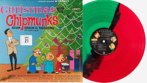 Christmas With The Chipmunks - Exclusive Limited Edition Red Green Split Colored Vinyl LP (Only 1000 Copies Pressed Worldwide!)
