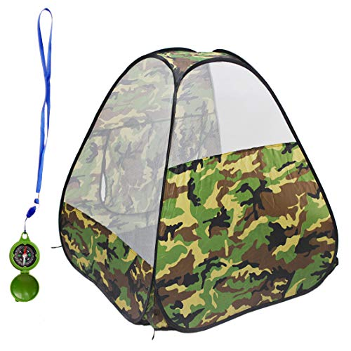 deAO Opvouwbare Speelhuisje Tent & Speelgoed Kompas met Camouflage Ontwerp - Geweldig Binnenshuis Buiten Cadeau voor Kinderen