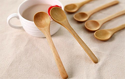 Alonea 6 Piece Set Bamboo Utensil Kitchen Wooden Cooking Tools Spoon Spatula Mixing New Soup Spoons (A)