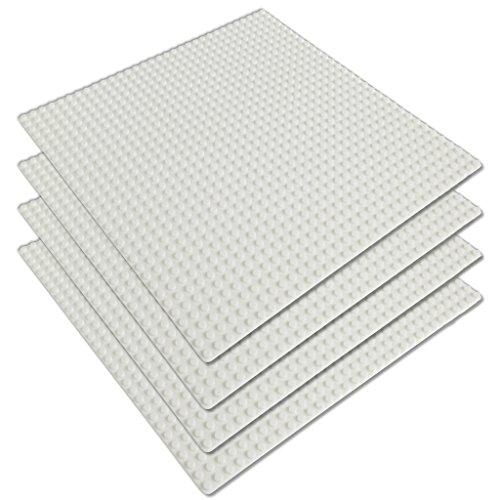 Katara - bouwplaat set van 4 25,5 cm x 25,5 cm / 32 x 32 pins, compatibel Lego 4 plaques, 32*32 goujons Set van 4 32 x 32 wit.