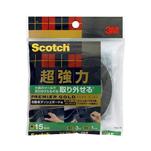 3M スコッチ 取り外せる 超強力両面テープ プレミアゴールド 自動車ダッシュボード用 15mmX3m SCD-15