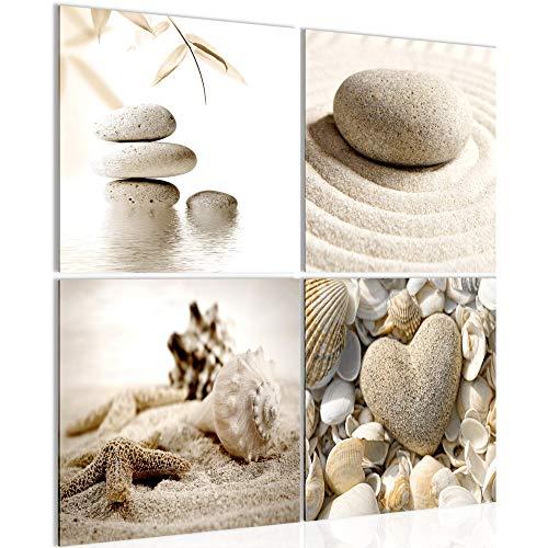Bilder Strand Steine 4 Teilig Bild auf Vlies Leinwand Deko Wohnzimmer Feng Shui Beige 501644a