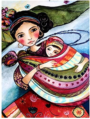 RNTJRTT Maluj według numerów zestawy kobieta i dziecko dla dorosłych początkujących i dzieci studentów płótno obraz olejny zestaw z pędzlem do malowania farby akrylowe 40 * 50 cm