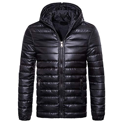 YJNH Men's Down Cotton Padded Zipper Hoodie Jacket Warm New Winter Coat Hooded Puffer Jacket Warm Lightweight Winter Jacket Windproof Coat Outdoor Casual Daily Wear with Pockets top L