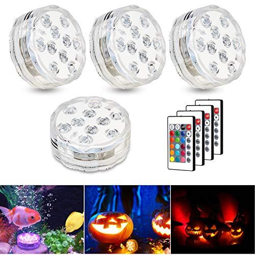 Zorara Unterwasser Licht mit Fernbedienung, 4 Stück RGB Multi Farbwechsel Wasserdichte LED Unterwasserlicht Teichbeleuchtung poolbeleuchtung für Vase Base Party, Weihnachten, Schwimmbad, Hochzeit