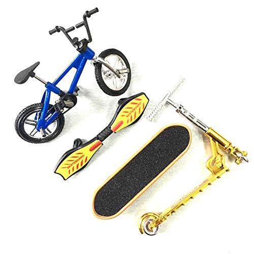 SSYY Finger Scooter Spielzeug, Kinder Lernspielzeug Zweirad Finger Scooter Bike Set Gold Silber