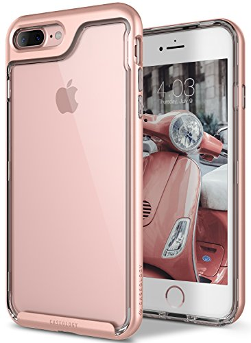 Caseology Skyfall for Apple iPhone 8 Plus Case (2017) / for iPhone 7 Plus Case (2016) - Clear Back & Slim Fit - Rose Gold