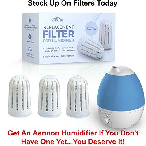 3 Ersatzfilter für Aennon Cool Mist Ultrasonic Luftbefeuchter – Auch für einige andere Marken einsetzbar (3er Packung Luftbefeuchter Filter) - 7