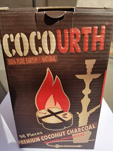 Hookah Natural Coconut Charcoal 96 Pieces Quarter Circle Coco Urth 1 Kilo Shisha Coal