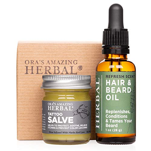 Tattoo Salve and Beard Oil Gift Set for Men with Tattoos and Beards, Tattoo Gifts, Made in The USA, Ora's Amazing Herbal (Tattoo Gift for Men)