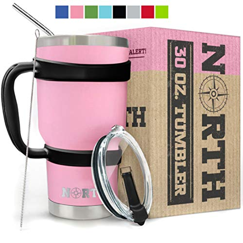North Pink Stainless Steel Tumbler 5Piece Set 30 oz Vacuum Insulated Travel Mug For Home Office School – Like Yeti Tumbler For Ice Drink amp Hot Beverage