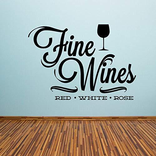 Fijne wijnen Rode Witte Roos Drink Citaat Muursticker - Vinyl Decal - Auto Decal - Id008 Eenvoudig aan te brengen en verwijderbaar