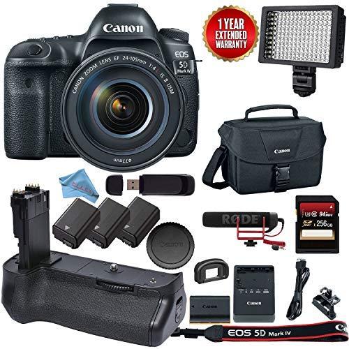 Best Deals! Canon EOS 5D Mark IV DSLR Body - with Canon 24-105 L USM + Canon BGE20 Grip Video Kit