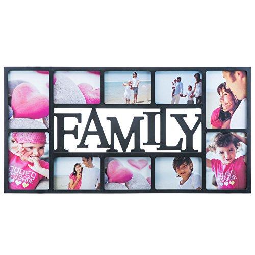 Bilderrahmen - XXL Fotorahmen Bildergalerie Foto-Collage; Galerierahmen mit Echt-Glas für Hochwertige und exzellente darstellung (Family XXL - Schwarz)