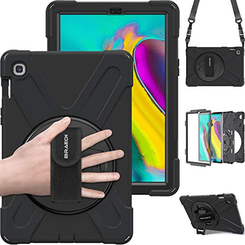 BRAECN Samsung Galaxy Tab S5e 10.5 2019 Case,Tablet SM-T720/SM-T725 Heavy Duty Shockproof Protective Cover with Rotating Kickstand/Hand Strap and Carrying Shoulder Strap for Galaxy Tab S5e - (Black)