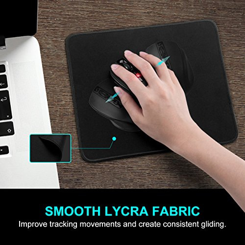 VicTsing Wireless Mouse and Mouse Pad Set, 2.4G Wireless Portable Mobile Mouse Optical Mouse with USB Receiver and Mouse Pad Combo for Notebook, PC, Laptop, Computer, Macbook (Black)