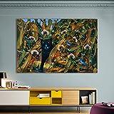 BailongXiao Decoración de la Sala hogar Gato espía habitación para niños Lienzo Animal Arte de la Pared Imagen,Pintura sin Marco,75x112cm
