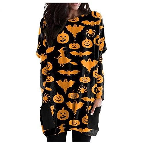 SHOBDW Halloween Mujer Suéter Largo Pullover Baratas Calabaza Patrón Divertido Camiseta Mujer Otoño Moda Suelto Sudadera Top Tallas Grandes Otoño e Invierno(D,S)